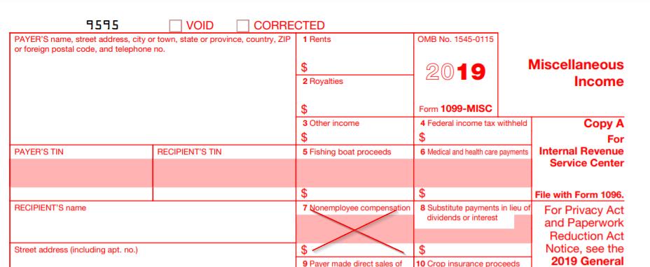 2019 1099 form