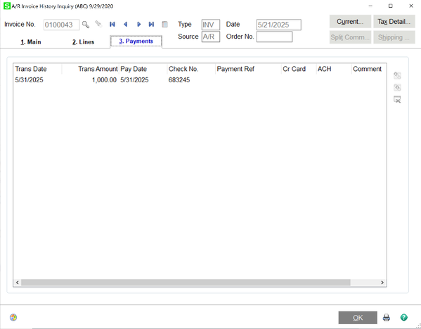 AR Invoice History Inquiry - Payments tab