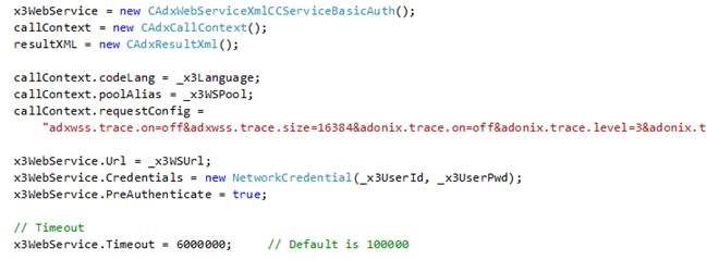 Sage X3 Web Service call code