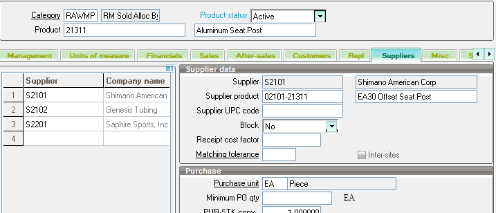 Suppliers tab on Sage X3 Products screen