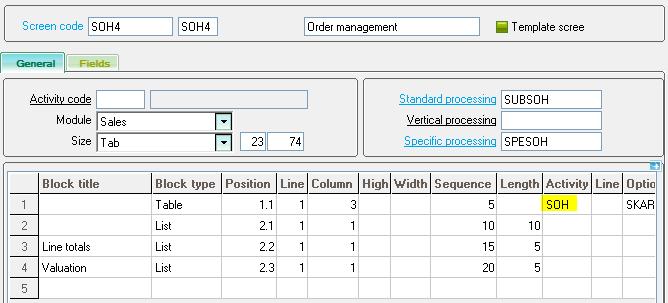 Sage X3 Order Management lines screen