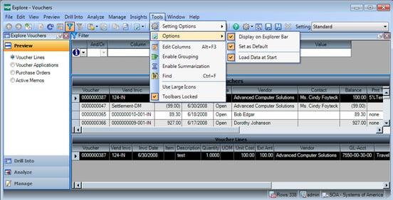 Sage 500 ERP Explore Vouchers Screenshot