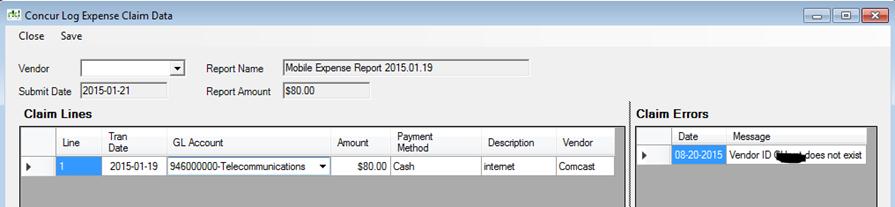 Concur Log Expense Claim Data