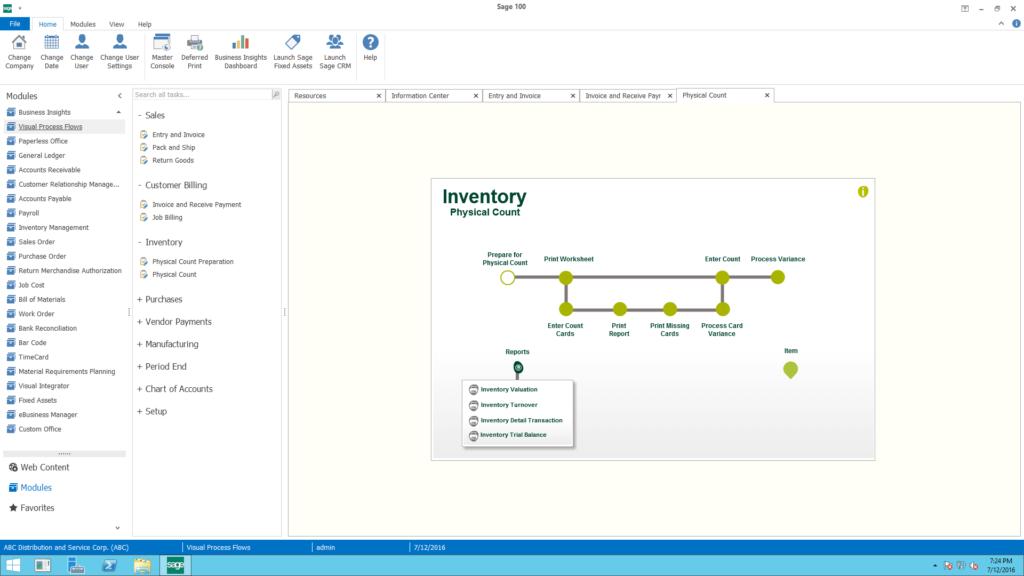 Sage 100c Visual process flow