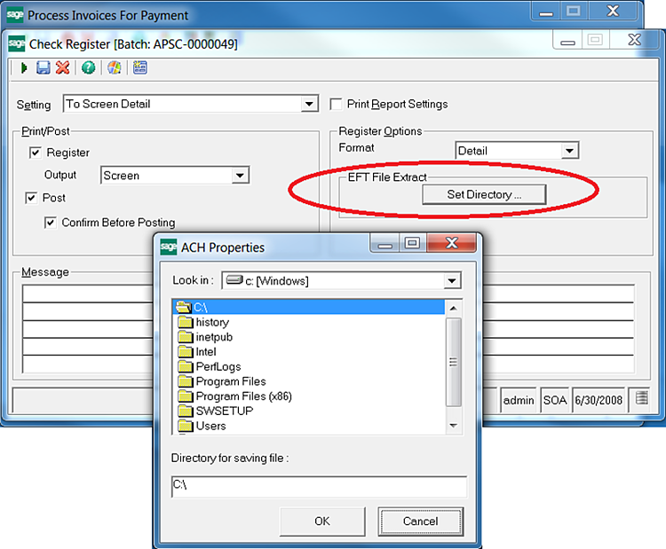 Sage 500 Select Location of ACH File