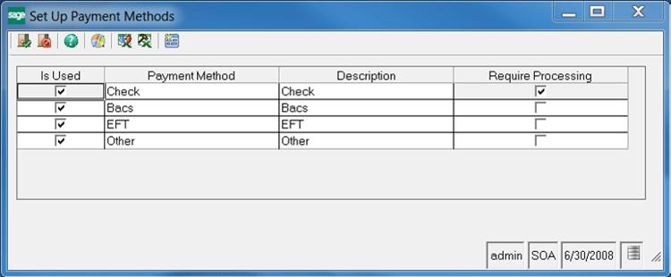 Sage 500 Set Up ACH Processing Payment Methods