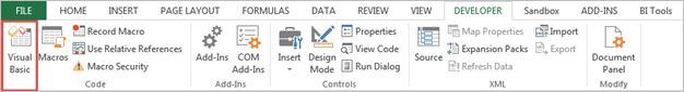 Add Excel Visual Basic Button