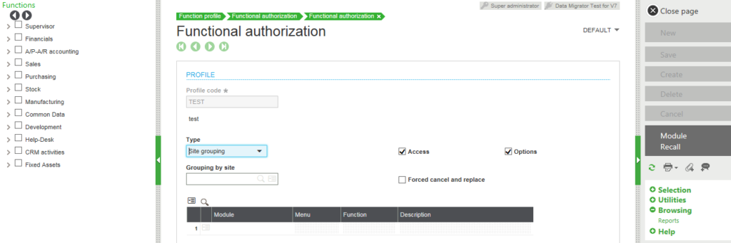 Sage X3 Functional Authorization