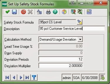 Set Up Safety Stock Formulas