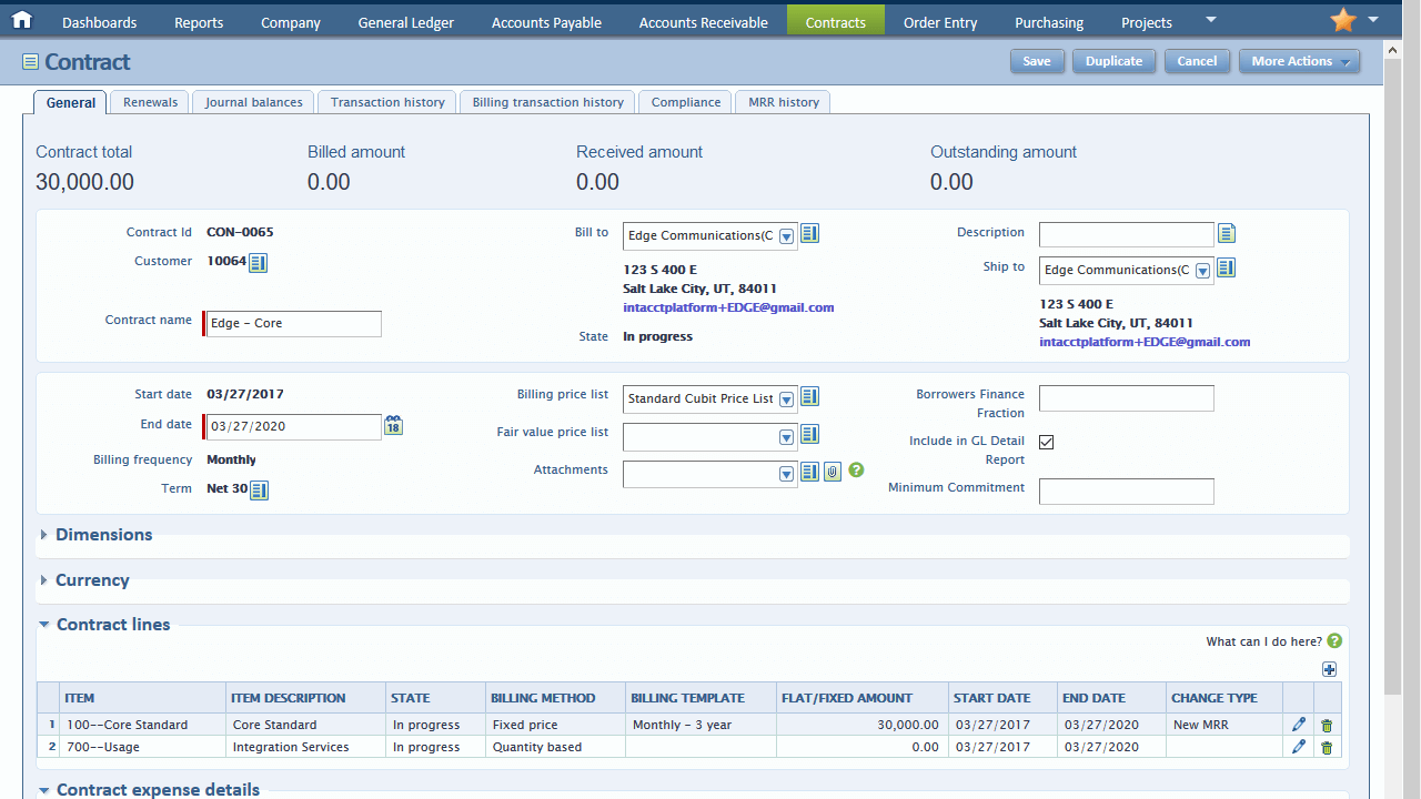 Intacct Contract Dashboard