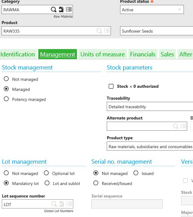 Sage X3 Mandatory Lot Managed