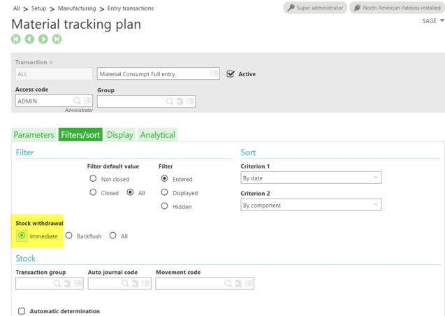 Sage X3 Material Tracking Plan