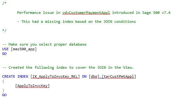 Missing Index on tarCustPmtAppl Sage 500