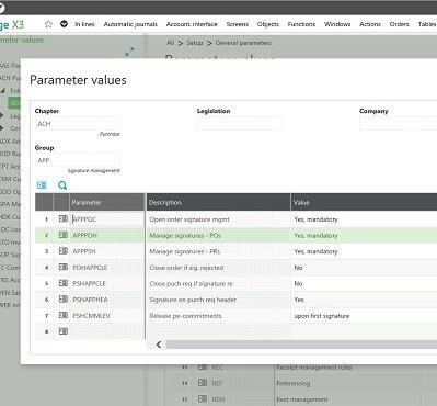 Sage X3 Parameter values