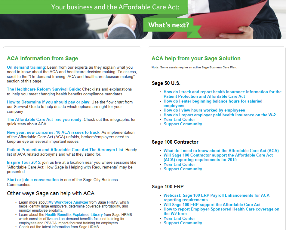 Sage 100 ERP ACA Website