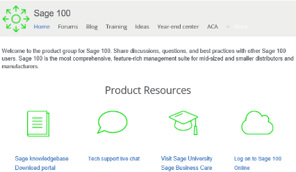 Sage 100 Product Resouces
