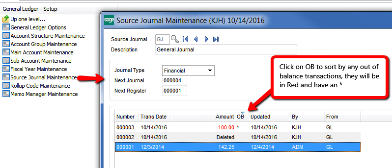 Sage 100 Source Journal maintenance