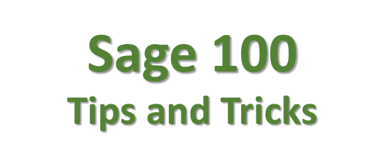 Sage 100 Tips and Tricks