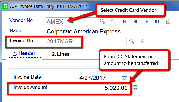 Sage 100 Transfer Invoices to Credit Card Vendor