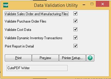 Sage 100C Data Validation Utility