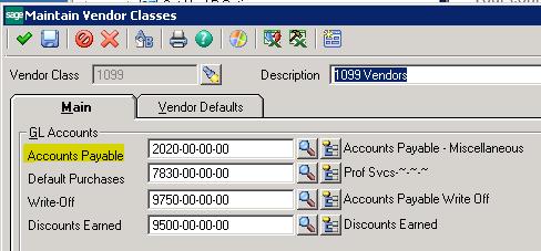 Sage 500 ERP AP Maintain Vendor Classes