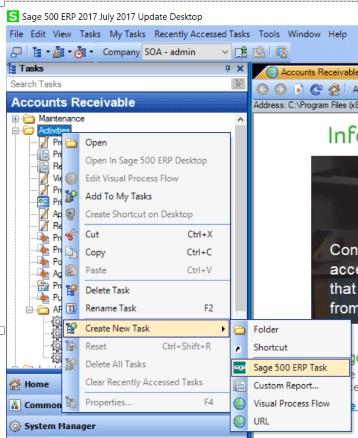 Sage 500 ERP Tasks