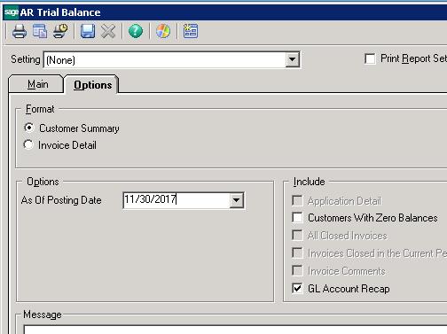 Sage 500 ERP GL Account Recap