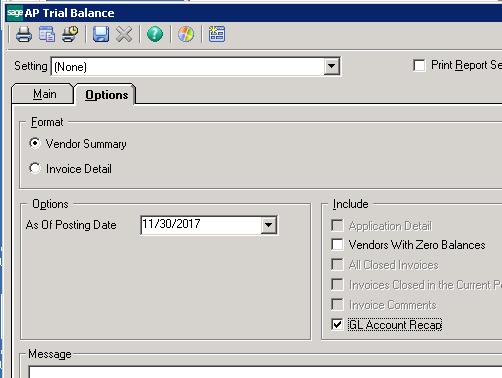 Sage 500 ERP GL Account Recap Options