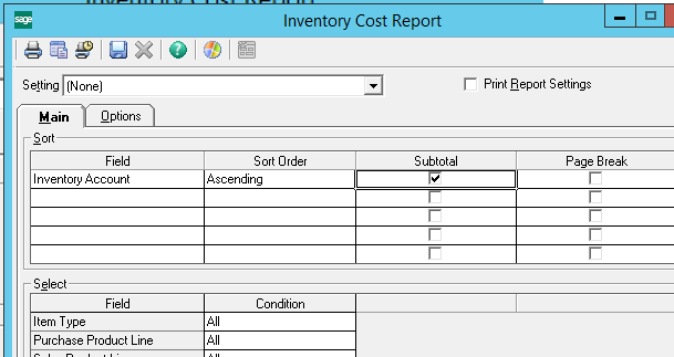 Sage 500 ERP Inventory Cost Report
