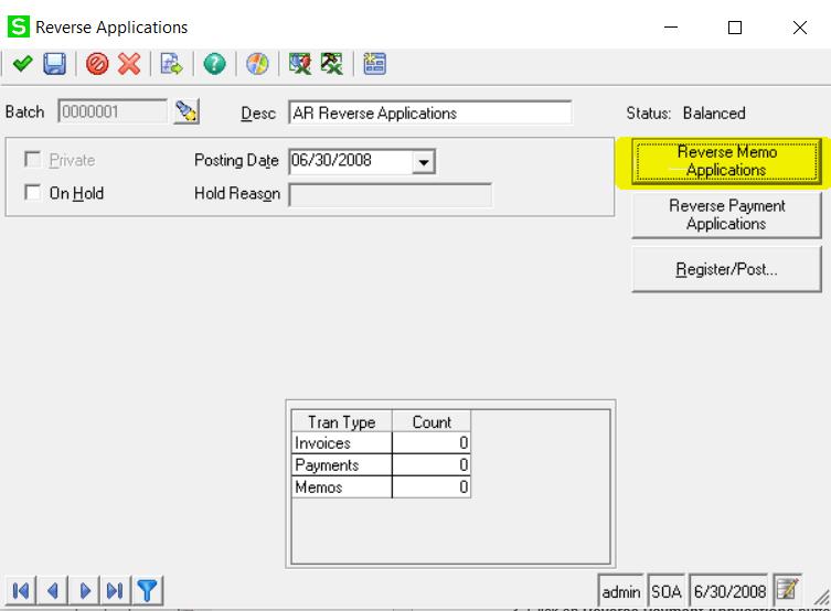 Sage 500 Reverse Memo Application