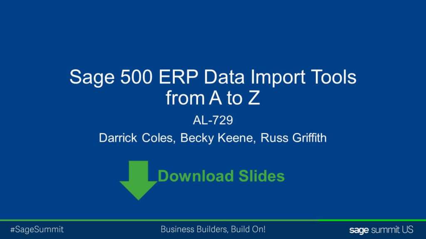 Sage 500 data import tools