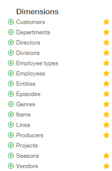 Sage Intacct Entertainment Dimensions