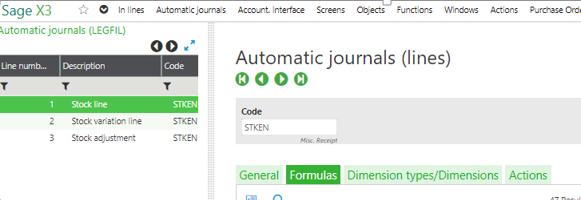 Automatic Journals Formulas