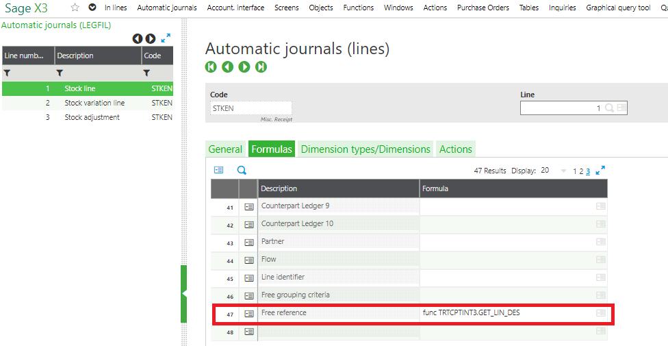 Sage X3 Automatic Journals Lines