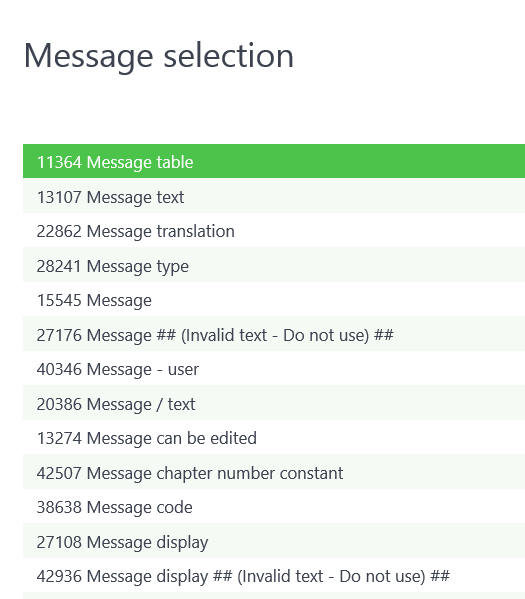 Sage X3 Operations Message Selection
