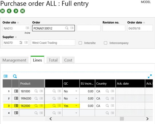 Sage X3 PO Line Entry