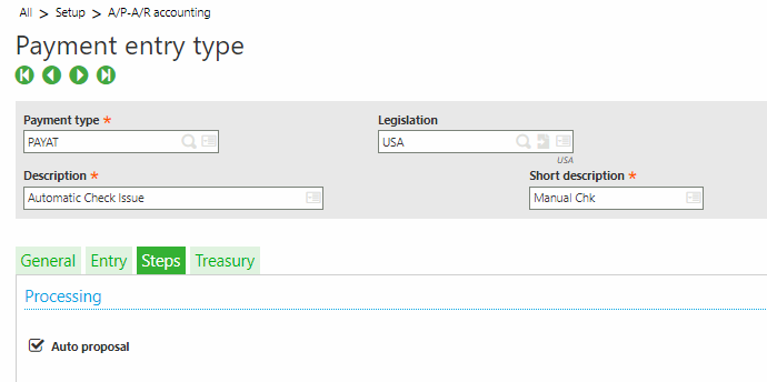 Sage X3 Payment Entry Type
