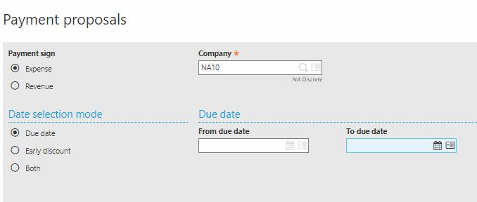 Sage X3 Payment Proposal screen