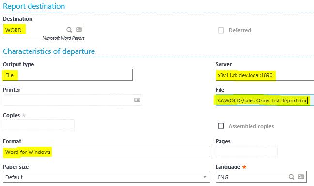 Sage X3 Print Report Parameters