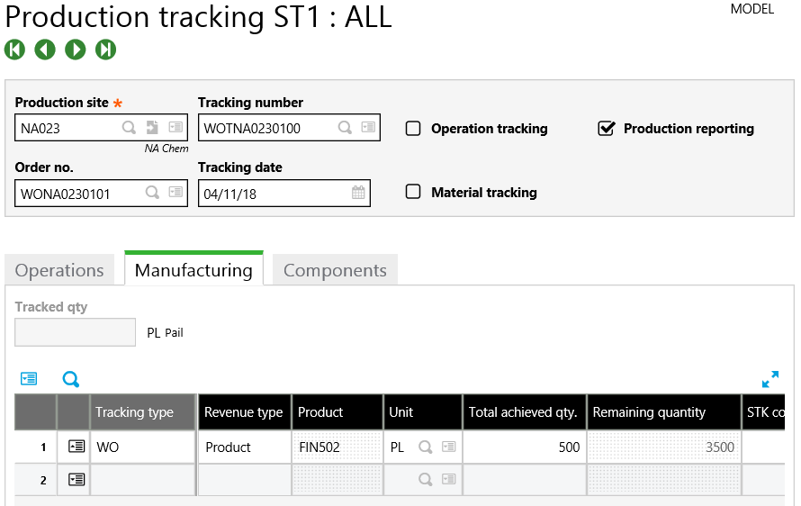 Sage X3 Production tracking