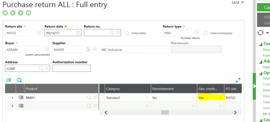 Sage X3 Purchase Return Generate Credit Memo field