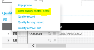 Sage X3 Quality Control Detail