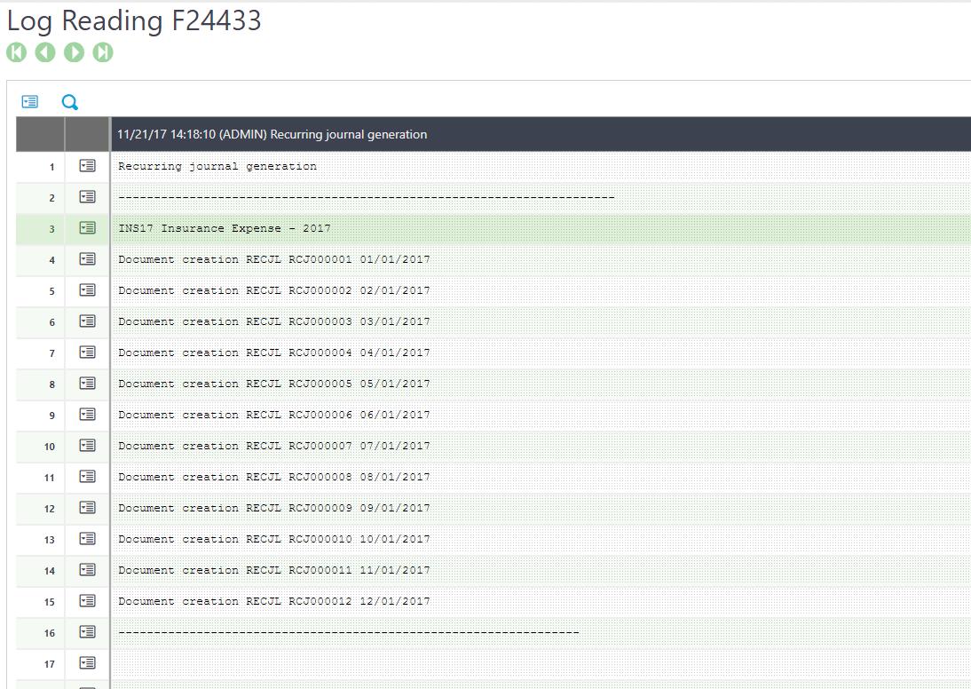 Sage X3 Recurring Log Entry