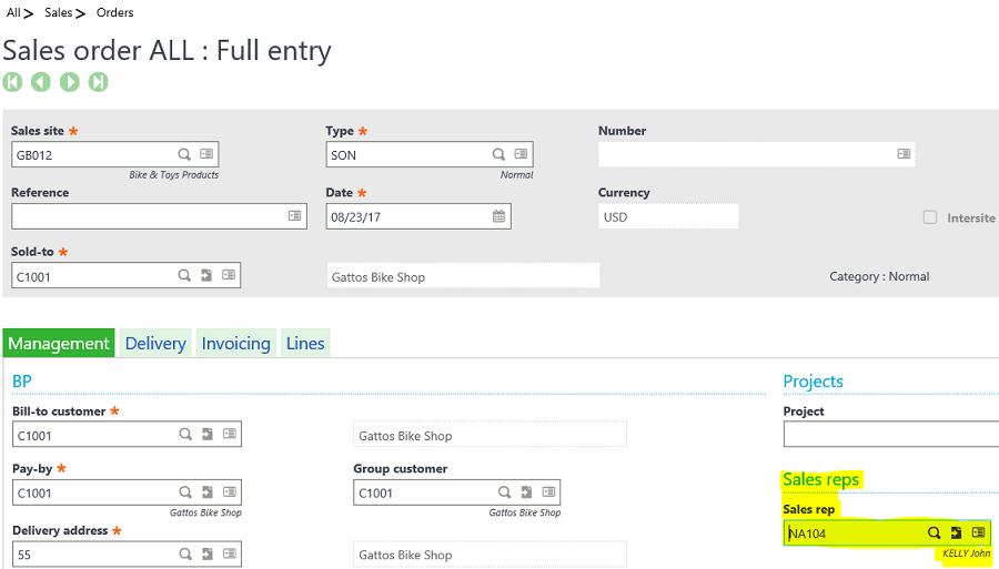 Sage X3 Sales Order Entry