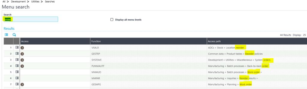 Sage X3 Search Criteria Screen