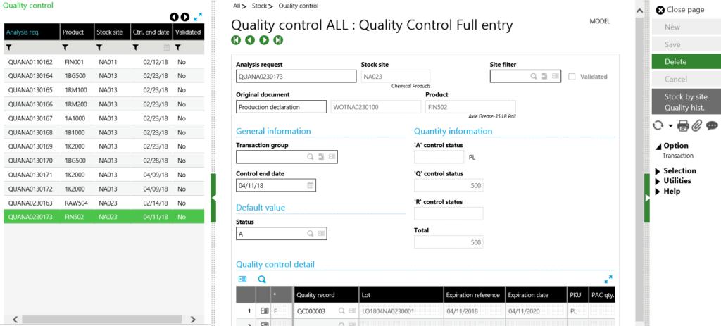 Sage X3 WO Quality Control Full Entry