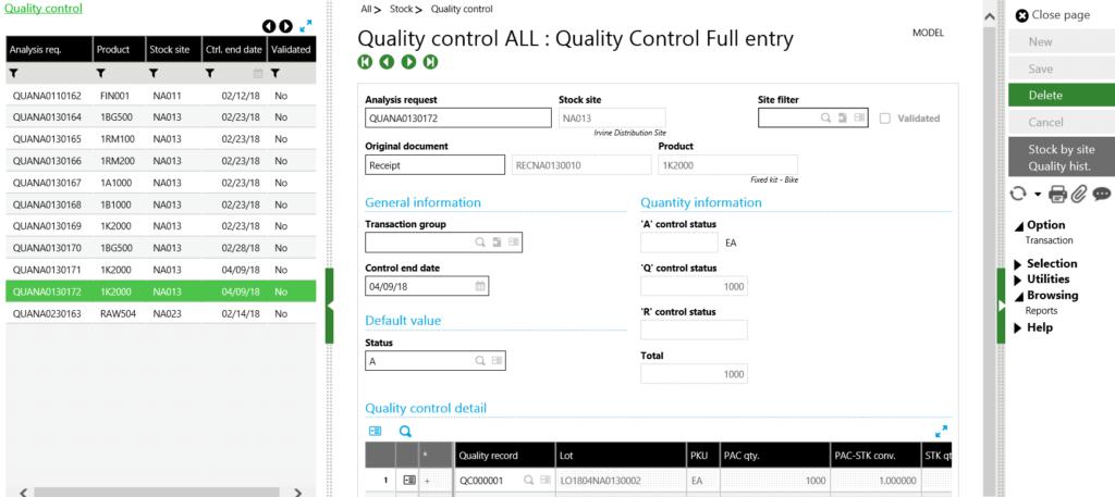Sage X3 analysis request detail line
