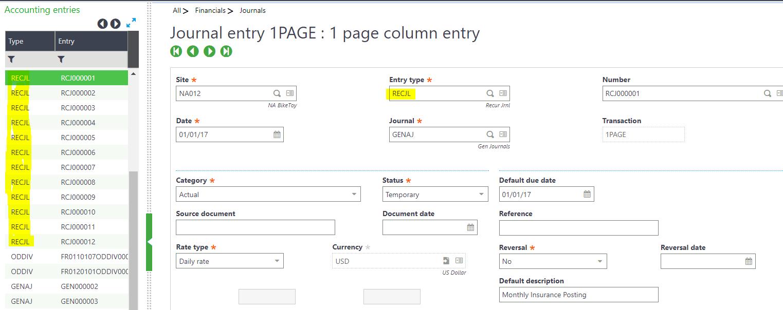 Sage X3 recurring journal entry
