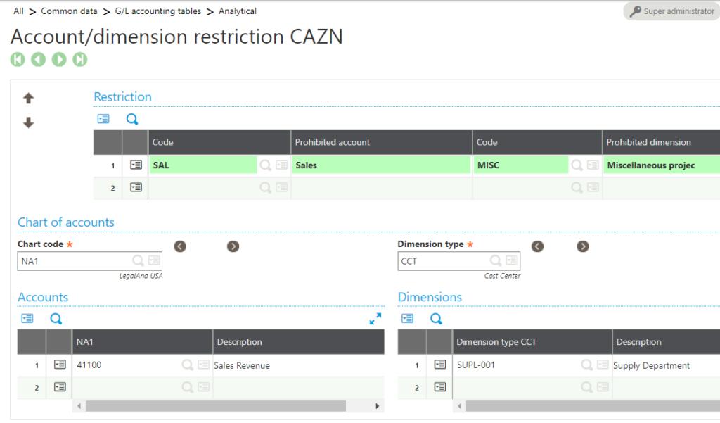 Sage X3 Account Dimension Restriction