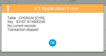 X3 Application Error